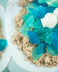Absolutely! Simple to do.   Ice Chips and coconut sugar   Edible Sea Glass & Chocolate Sea Shells- Under the Sea or Ocean Birthday Party