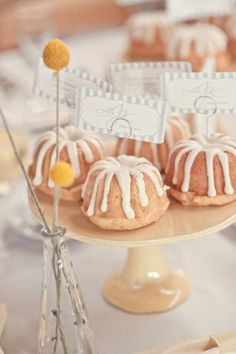 Mini Bundt Cakes - display beautifully on a dessert table, and are a great alternative to cupcakes. Would also be cute for a bridal shower.