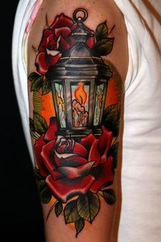 #Tattoo - Lantern & Roses  Seriously Stunning!  Beautiful colors!  Great 3-D appearance!  Beautiful work of art here!