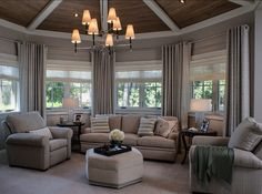 Family Home with Beautiful Interiors - Home Bunch Interior Design Ideas Coastal Living Rooms, Home Living Room, Traditional Bedroom, Traditional House, Greige, Bedroom Seating, Family Room Design, Home Additions, Luxury Interior Design