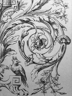 Ornament Drawings | Filigree Victorian Acanthus Scrolling Engraving
