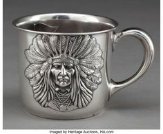 AN UNGER BROTHERS SILVER INDIAN HEAD MOUSTACHE MUG . Unger | Lot #68272 | Heritage Auctions