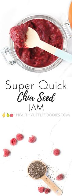 This easy chia seed jam has only has two ingredients and no refined sugar. A perfect healthy spread alternative to jelly for kids. Can be used on toast, yogurt, pancakes, and more.