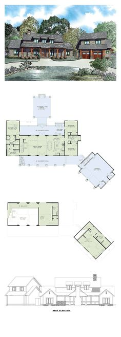 Craftsman House Plan 82085 | Total Living Area: 2555 sq. ft., 5 bedrooms and 4 bathrooms. #craftsmanhome