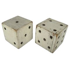 Painted Wooden Pair of Dice