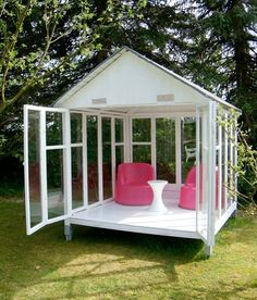 Gazebo, Elegant Playhouse or Outdoor Shed - DIY: Make it out of old windows! I would make it a mix between greenhouse and gazebo for reading on a rainy day. Outdoor Retreat, Outdoor Sheds, Backyard Retreat, Outdoor Rooms, Outdoor Gardens, Outdoor Seating, Outdoor Living, Outdoor Projects, Diy Projects