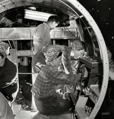"""December 1942. """"Production of B-17 heavy bomber. A skilled team of men and women…"""