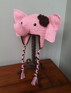 Custom Crochet Elephant Hat with Flower or Tuft, Earflaps, and Braids ((YOU CHOOSE SIZE Newborn-Adult)). $27.00, via Etsy.