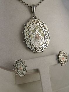 Rare Antique Victorian Aesthetic Locket, Earrings and Pin Suite - Full English Hallmarks