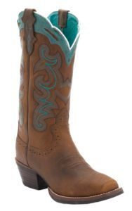 Justin Ladies Silver Collection Brown Buffalo with Turquoise Detail Punchy Toe Western Boots   Cavender's