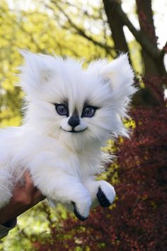 White Direwolf White puppy Realistic toy by MonkeyBusinessToys. Wolf toy, Whimsical Animals & Fantasy creatures from faux fur and polymer clay, Mystical Posable Animals toys for coll