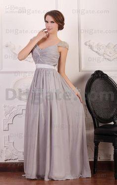 Wholesale 2013 New Arrival Silver Chiffon V Neck Cap Steeve Prom Dresses  Sweep Train Beaded Zipper Back e2bba321ebf5