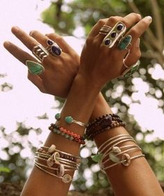 I love to stack my bracelets & wear two rings per hand. I think the rings should coordinate...like pictured.