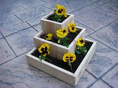 "Flower planter, garden flower pot, wood, tabletop size, for indoor or outdoor flowers and plants:  ""Pyramid"" on Etsy, $49.00"