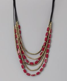 Take a look at this ZAD Red Beaded Strand Necklace by ZAD on #zulily today!