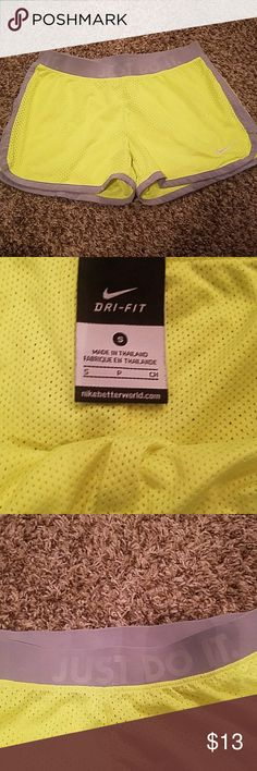 Nike dri fit shorts Like new condition.  Neon green/gray.  Just do it letters around waist band. Nike Shorts