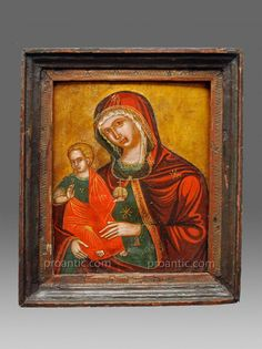 Icône Madre Della Consolatione Vers 1700 - Icon Icone Ikone - icônes Galerie D'art, Objet D'art, Sculpture, Display, Painting, Russian Icons, Painted Wood, Antique Shops, How To Paint