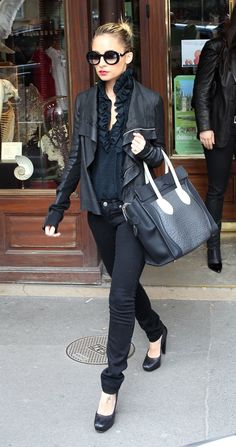shes_in_fashion: March 2011  Nicole Richie in jet denim jeans, rick owens jacket, celine bag & chanel shades