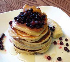 cinnamon a Greek yogurt pancakes topped w/ blue berry, banana, honey, and peanut butter
