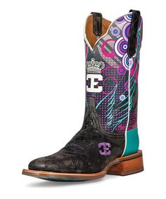 Look what I found on #zulily! Black & Turquoise Queenism Leather Cowboy Boot by CINCH EDGE #zulilyfinds
