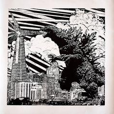 Original Godzilla Linocut Print by Eric Rewitzer 3 Fish Studios