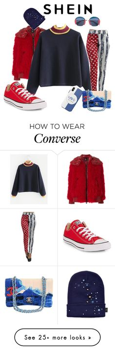 """""""Cool beans    Shei   Blue sweatshirt"""" by bluehatter on Polyvore featuring Moncler Grenoble, Converse, Chanel, Piers Atkinson and Gucci"""