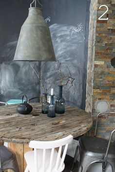 Rustic + Chalkboard --- Not a fan of the chalkboard but this looks like a great idea for a kitchen nook. ~R.