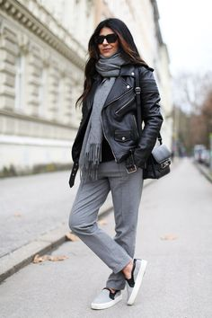 Fashion Landscape | Leather Jacket + Slip Ons