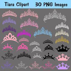 Tiara Princess Clipart Clip Art, INSTANT DOWNLOAD Crown Silhouette Clipart Clip…