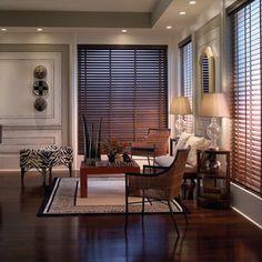 Brązowe żaluzje we wnękach okiennych./ wood blinds with black tape - Google Search