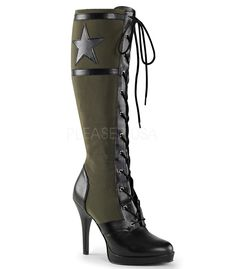 "Funtasma 4 1/2""(11.50cm) Heel Front Lace Up Knee High Military Boot W/Star and Stripes Detail, Full-Length Inside Zip Closure."