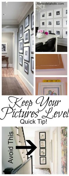 Keep your picture frames level by hot gluing tacks to the bottom corners of the frame.