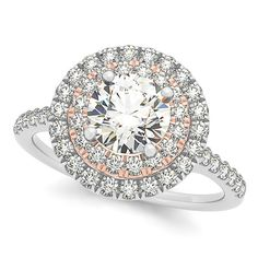 Double Halo Round Diamond Engagement Ring 14k Two Tone Gold (1.38ct) - Allurez.com