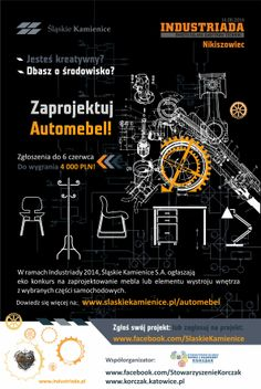 #Automebel, plakat konkursowy #car #furniture #slkamienice #industriada #competition #konkurs #eco #recykling #recycle #design