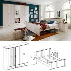 schlafzimmer set luca pinie weiß 3tlg. bett 100x200 cm online ... - Schlafzimmer Günstig Online