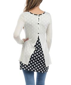 Look at this Ivory Polka Dot Split-Back Tunic on #zulily today!
