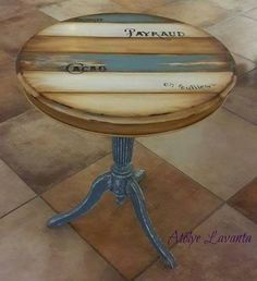 https://www.facebook.com/atolyelavanta  https://instagram.com/atolyelavanta/ Recycled Furniture, Furniture Restoration, Painting On Wood, Diy Painting, Coastal Style, Coastal Decor, Palet Table, Painted Side Tables, Coffee Table Makeover