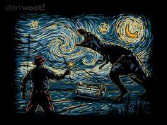 """Jurassic Night"" by Hootbrush Inspired by Jurassic World and Van Gogh's Starry Night Jurassic Park Tattoo, Jurassic Park Poster, Jurassic Park Party, Jurassic Park 1993, Jurassic Park World, Jurrassic Park, Park Art, Art And Illustration, Tyrannosaurus"