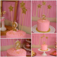 Twinkle Twinkle Little Star Party/ Pink & gold cake