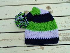 Seattle Seahawks Football Blue Green Crochet Pom by twelthmanhats