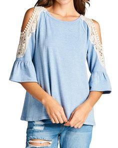 Heather Blue Crochet Open Shoulder Top