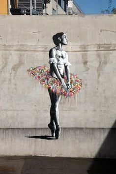 Ballerina black and white rainbow tutu street art Martin Whatson - Oslo, Norway