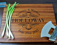 Our personalized cutting boards are engraved keepsakes. They make unique wedding gifts, anniversary gifts, housewarming gifts, or special occasion mementos. We have taken an everyday kitchen item, and made a cherished and beautiful keepsake. TWO SIDES FOR BOTH FUNCTION AND BEAUTY We design our personalized cutting boards around the idea that one side can be used as a decoration in the kitchen, while the other (blank) side can be used as a traditional cutting board.  FOLLOW US & KEEP UP WITH…