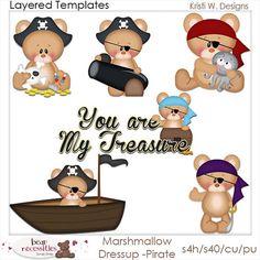 Marshmellow Dress Up Pirates Teddy Bear PSD by marlodeedesigns, $5.00