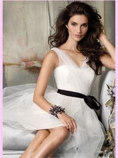 White Short Tulle Bridesmaid Dress