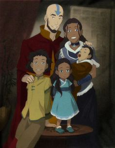 The Legend of Korra/ avatar the Last Airbender: Aang and Katara with their children, Bumi, Kya, and Tenzin, when they were little. ALL THE FEELS! Avatar Aang, Avatar Airbender, Team Avatar, Zuko And Katara, Ang And Katara, Avatar Legend Of Aang, Got Anime, Avatar Series, Korrasami