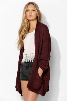 BDG Rolled-Sleeve Open Cardigan #urbanoutfitters