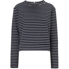 Whistles Double Face Stripe Top ($35) ❤ liked on Polyvore featuring tops, shirts, sweaters, long sleeves, navy, jersey shirts, navy blue shirt, navy blue long sleeve shirt, long sleeve jersey and long sleeve tops