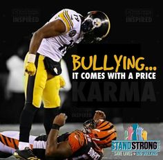 The one laying on the ground is the bully.... social media glorifies the underdog who stands up to the bully... in this case he's standing over.... big hit Ju Ju.... apparently through all the rule changes to make the NFL a game of flag football... the term head on a swivel isn't taught anymore