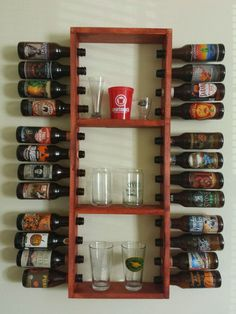 Wall rack that displays 24 12oz beer bottle from your favorite breweries and can display your awesome glassware!